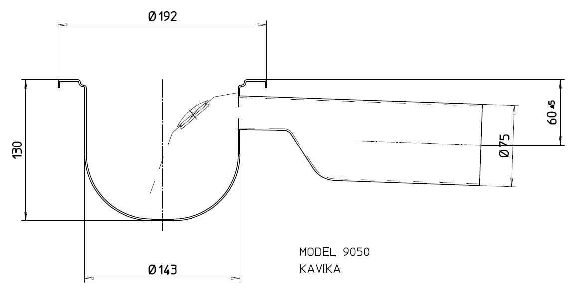 Трап с гидрозатвором 9050