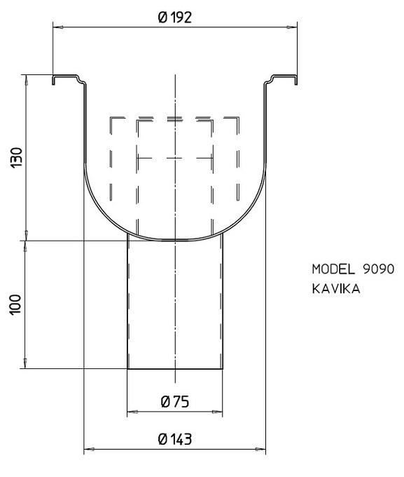 Трап вертикальный с гидрозатвором 9090